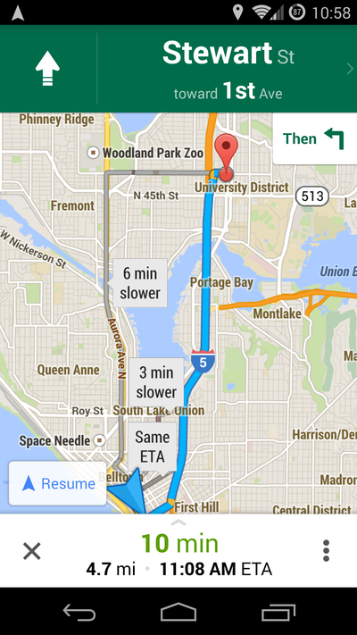 Google faster slower route